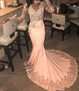 Pêssego africano Sereia Vestidos de Baile 2019 Sexy Sheer Lace Apliques Vestidos de Noite Sweep Train Barato Formal Vestido de Festa Vestidos