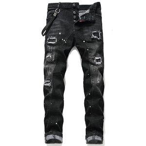 2019 Yüksek kaliteli marka erkek kot düz pamuk siyah fasion gündelik homme kot pantolon büyük beden erkek baskılı kot yırtık
