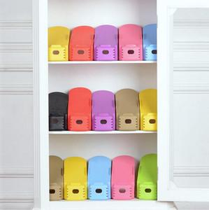 Zapato Zapatos Bastidores de almacenamiento de limpieza cremallera doble Zapatos de Shoebox convenientes Organizador ahorro de espacio del soporte del estante de la sala 8 colores LQPYW938