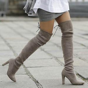 Teahoo Faux Suede femmes sur le genou Bottes Sexy Slim Cuissardes 9,5 cm Femmes Chaussures hiver Heeled Femme Taille 34-39