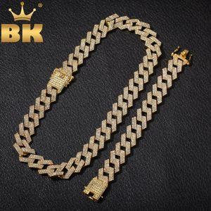 Bling KING 20mm Miami çatal Küba Zincir NE + BA 3 Row Tam buzlu Out Rhinestones Gerdanlık Bilezik Mens Hiphop Takı Seti