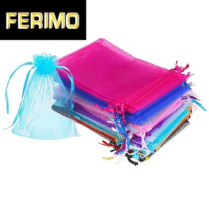 100pcs Organza Candy Gift Bags Wedding Jewelry Drawstring Storage Bag Pouches Solid Color Sweets Gift Bag Boxes Birthday Decor