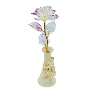 24k Gold Rose Valentine's Day Gift Artificial Flowers with Box Ceramics Base Present Foil Flowers Home Decor Fake Roses