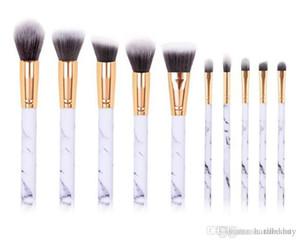 a88 10pcs set Marble Makeup Brushes Blush Powder Eyebrow Eyeliner Highlight Concealer Contour Foundation Make Up Brush Set