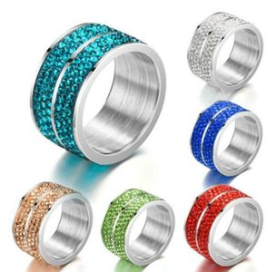 Fashion Women Stainless Steel Crystal Zircon Wedding Party Wide Ring Jewelry