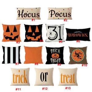 Halloween Pillow Cushion Linen Pumpkin Pillows Cover Letter Pillowcase Party Home Decorative Sofa Couch Pillow Case LJJA3056