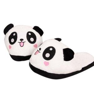 обувь женщина зимы женщин Главная тапочки женщин Panda Зимний Теплый Плюшевые противоскользящие Крытый Главная Тапочки белый Zapatos де Mujer