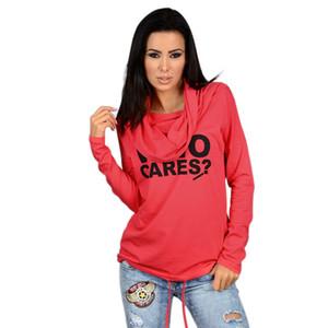 Moda de nova roupas de poliéster das mulheres em torno do pescoço T-shirt hip hop com capuz casual impressão fina seção de malha jaqueta T-shirt