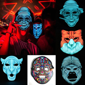 Máscara Thefound 2019 Novo LED Som reativa Máscara som ativado Street Dance Rave EDM Plur partido