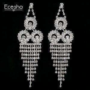 Concise Glands Eardrop Boucles d'oreilles Femme oreille ongles personnalité Diamant Triangle Cercle Fonds à long Bride Ornements
