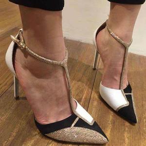 2020 T-Strap été Sexy mariée Hauts talons géométrique Party Sandales Pompes Pointu mariage Toe chaussures de mariée 35-40