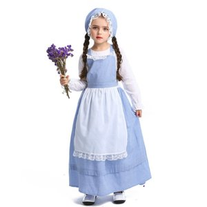 Ragazze Farm Role Play Costume Maid Cosplay Uniform Halloween Party Lolita Long Dress Abbigliamento per bambini Grid semplice stile Outfit