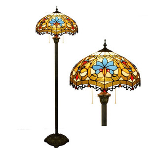 Retro Tiffany floor lamp American stained glass lamps art gift lamps hotel living room bedroom floor lamp TF017