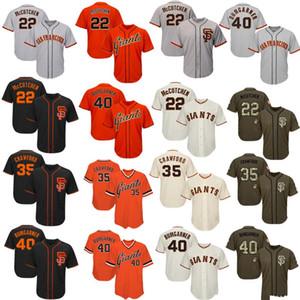 Мужские женские молодежные гиганты трикотажные изделия 22 McCutchen 35 Crawford 40 Bumgarner Джерси Бейсбол Джерси черный кремовый серый серый оранжевый Салют для обслуживания