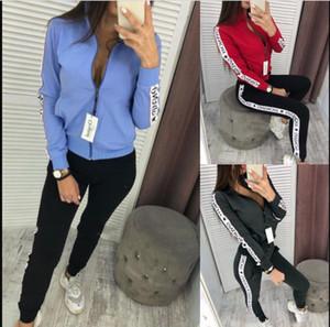 Cardigan Blau Kapuze Frauen 2pcs Klagen-Langarm-Streifen-Frauen Tracksuits beiläufige Panelled Plus Size Damenmode Suits Blazer