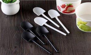 Desechables Cuchara de helado puro Negro Blanco helado de la cucharada de plástico pala cuchara 100pcs / lot wen6802