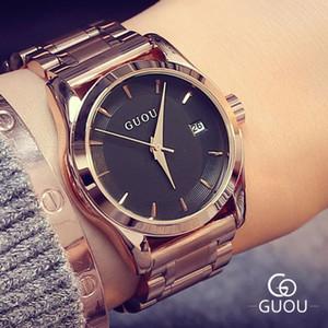 Guou de relojes de las mujeres de negocios señoras reloj de oro rosa pulsera de reloj de las mujeres del acero inoxidable de la fecha auto del reloj del relogio feminino Saat V191202