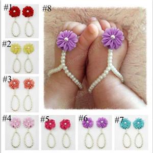 Heißer Verkaufs-Baby Perle Sandalen Baby-Kleinkind-Schuhe Strass Beach Pearl Barfuß Sandale Baby Schmuck Erstaunlicher Schuh Blumen-Mädchen-Accessoires