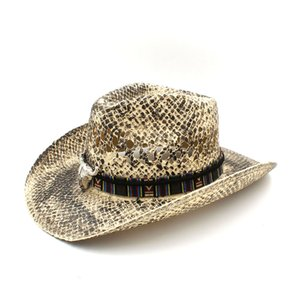 Women Men Hollow Western Cowboy Hat Handmade Weave Straw Lady Dad Sombrero Hombre Cowgirl Jazz Caps Bull Head Band Size 56-58CM