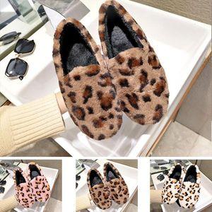 2019 chaussures chaussures de fourrure de léopard paresseux Casual plat tête basse ronde des femmes, plus de coton en velours hiver taille de vêtements de la maison 35-40