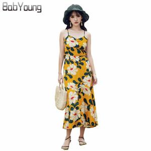 BabYoung verano nuevo traje-vestido de las mujeres revelan Vestidos Sexy V sin espalda de la camiseta floral maxi cola de pescado de la cintura vestidos largos de gasa