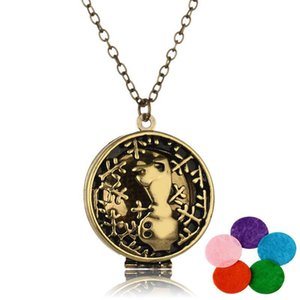 Antique Copper Bear Aromatherapy Essential Oil Diffuser Locket Pendan Necklace with 5 Colors Perfume Cotton Ball Jewelry Gifts for Couples