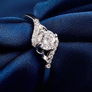 925 Sivler Simple cristal Marque Bagues de femmes de soirée de mariage Bague de fiançailles Bijoux en gros