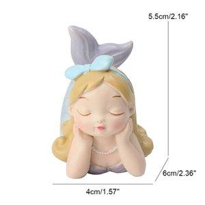Miniature estatueta filha do ornamento Resina Sea Mermaid Decoração Acessórios Brinquedos Desk Decor Artesanato