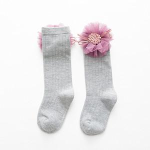 Flower Socks For Girls Autumn Winter Knee High Socks Princess Cute Long Tube Kids Booties Vertical Striped Children