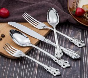 Retro tarzı gümüş ve altın çatal sofra takımı seti yüksek dereceli sofra paslanmaz çelik 5-piece set bıçak çatal kaşık yemek setleri