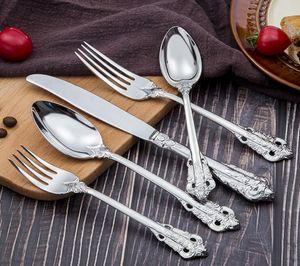 Retro Edelstahl Silber und Goldmesser Set Gabel Flatware Geschirr Edelstahl Sets Stil Besteck Set Löffel Geschirr 5-teiliges OrrbQ