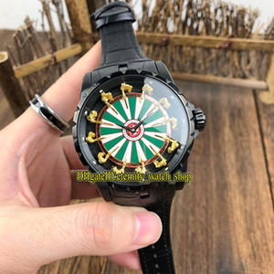 10 Luxury Colore Excalibur 45 RDDBEX0398 Cavalieri di La Custodia in pelle Black Watch Tavola rotonda I Mens automatico meccanico Banda Orologi sportivi