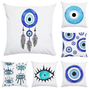 Acuarela pintura al óleo funda de almohada azul de la serie de poliéster cubiertas Throw Cushion 45X45cm funda de almohada del sofá decoración del hogar XD23173