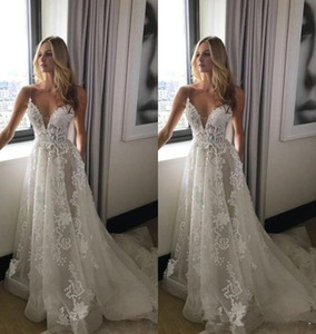 2019 Unique Design Wedding Dresses Spaghetti Straps Appliques Handmade Lace A Line Sweep Train Bridal Gowns Custom Plus Size