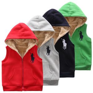 Çocuklar tasarımcı ceketler kış erkek kız yelek yelek pamuk yastıklı palto yün kapüşonlu kolsuz ceketler kalın sıcak ekleyin çocuklar dış giyim