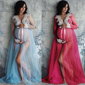 Hirigin Goocheer Lace Ruffle Floral V-Neck oco fora de maternidade longas macias Vestidos Para Sessão Fotográfica grávidas Roupa mulher