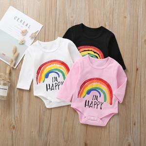 Elegante autunno INS New Baby Infant Pagliaccetti per ragazze Rainbow Happy Stampa Manica lunga Sottile Cotone Neonati Ragazzi Tute 0-24M