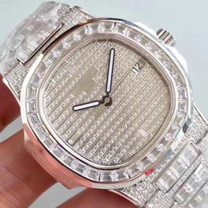 Coffret cadeau Mode Hommes Montres diamant wathes Glacé Designer Mouvement Quartz Hommes et Lady watchesWatch Horloge en acier inoxydable