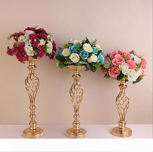 Golden flower vases Creative Hollow Gold Metal Candle Holders Wedding Road Lead Table Flower Rack Home And Hotel Vases Decoration LXL545-1