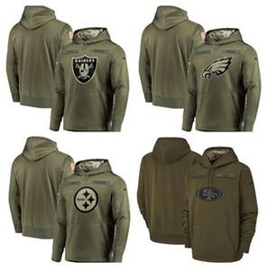 2018 Hommes Francisco Philadelphie Eagles Steeler Sweat-shirt Salut au service Raider Olive 49er Pull Hoodies