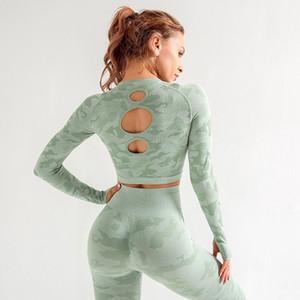 Yoga Top Feminino Workout Tops T-shirt do desgaste esportes das mulheres para a aptidão Mulheres Jersey Seamless manga comprida Ginásio mulher Camisa de esporte