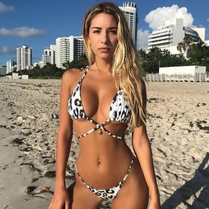 패션 - 여성 여름 해변 해변 비키니 세트 브래지어 팬티 세트 2pcs 수영복 레오파드 섹시한 비키니