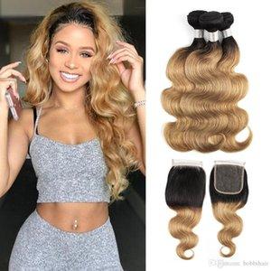 Brazilian ombre Blonde Körper-Wellen-Haar-Bündel mit Closure Farbe 1B27 3 Bundles mit 4x4-Spitze-Schliessen Rohboden Remy Menschenhaar-Verlängerungen