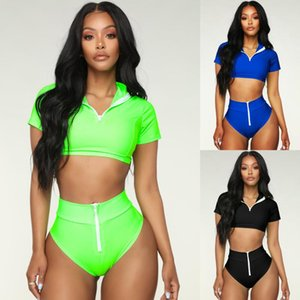 New hot sale sports bikini sexy ladies swimsuit featuring zipper solid color swimsuit
