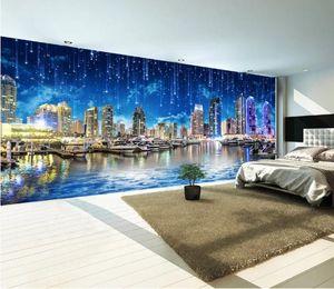 Photo personnalisé Papier peint 3D Style européen Ultra HD Nuit Ville Nuit Ville Paysage Panora Grand Mur Papier Peint Pour Chambre Salon Mur