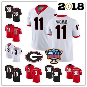 2019 Georgia Bulldogs 11 Jake Fromm 3 Todd Gurley II 10 Jacob Eason Rodrigo Blankenship UGA Bulldogs Genähte College Football 150. Trikots