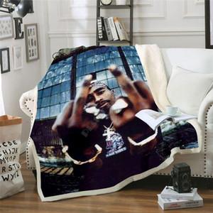Plstar Cosmos Hip Hop Rapper 2Pac Blanket caráter engraçado 3D imprimir Sherpa Blanket na cama estilo-12 Home Textiles Dreamlike