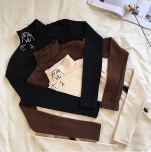 Tasarımcı Gömlek Kadın Tişörtü 2019 Yeni Moda Kadın Giyim Sonbahar Yeni Yüksek Yaka Uzun Kollu İnce Baskılı T Gömlek Kadın Drop Shipping