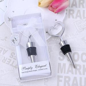 무료 배송 우아한 품질의 크롬 하트 모양의 와인 마개, 병 마개 결혼식 호의, 신부 샤워 마개 LX7423