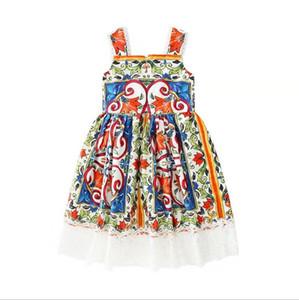 платье 2018 Новое прибытие в европейском и американском стиле летом без рукавов кружевном платье высокого качества хлопка девушки Изысканный ретро печать платье